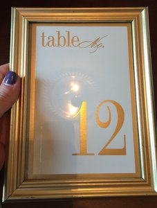 Vera Wang Bridal Gold Table Numbers with Frame Reception Decoration