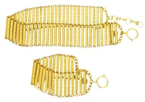 Chanel Vintage Chanel Gold Choker Necklace and Bracelet Set Rare 1980s