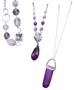 3 purple gem silver color necklaces
