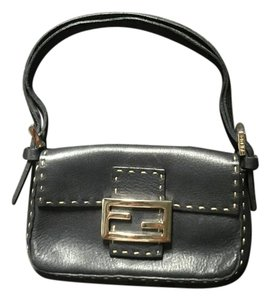 Fendi Leather Logo Ff Selleria Baguette