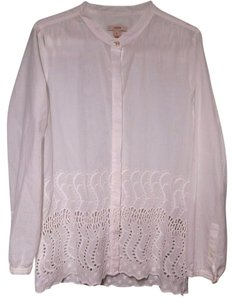 J.Crew Embroidered Cut-out Button Down Shirt white