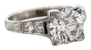 Antique Art Deco 2.26ctw Diamond 14K White Gold Hand-Etched Engagement Ring