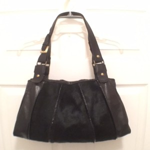 Marco Buggiani Leather Fur Tote Satchel in Black