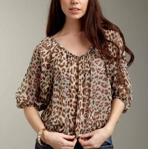 Romeo & Juliet Couture Leopard Flowy Top Multicolor Leopard