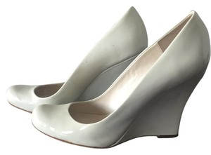La Fenice Patent Leather Round Toe White Wedges