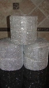 Silver 1 Diamond Mesh Roll 30 Feet Long Reception Decoration