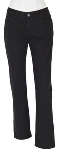 Zara Woman Front Logo Button Straight Leg Jeans-Dark Rinse