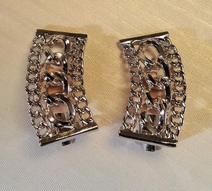 Pat Pend Vintage Pat Pend Clip Earrings Silver plated 1950's