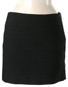 Haute Hippie Dual Zippers Textured Striped Mini Skirt Black