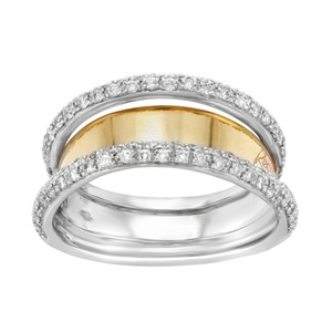 Recardo 18k Rose & White Gold 0.09 Cttw Diamonds Ladies Band Ring (12733)