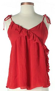 Parker Silk Sleeveless Ruffle Top Red