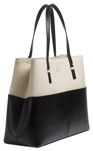Kate Spade Embossed Cowhide Tote in Porcelain and Black