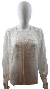 Rebecca Taylor White White Button Down Summer Vintage Style Top Off White