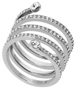 Michael Kors NWT MICHAEL KORS PAVE SPIRAL SILVER-TONE RING MKJ47230407 SIZE 7