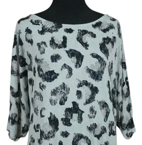 Christopher & Banks T Shirt Grey/Black Animal Print