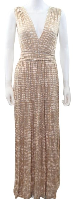 Item - Tan and White Wedding Guest Summer V-neck Long Casual Maxi Dress Size 4 (S)