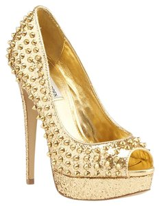 Steve Madden Awwsome Sequin Studded Peep-toe Gold Pumps