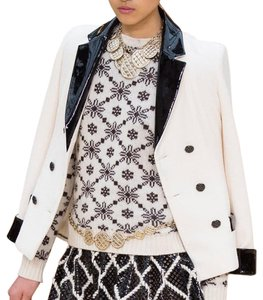 Chanel Jacket Patent Leather Classic Cream and Black Blazer