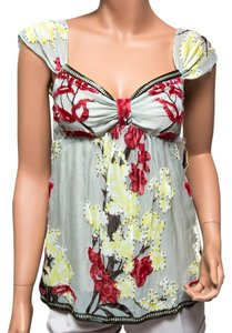 Hale Bob Beaded Floral Feminine Top Green