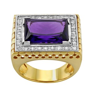 Saya 18k Yellow & White Gold 0.2 Cttw Diamonds & Amethyst Ladies Cocktail Ring (12762)