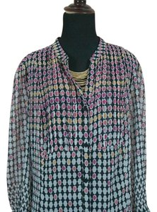 Christopher & Banks Top Pink Black Geometric Print