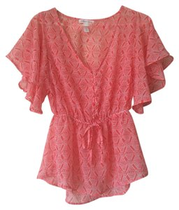 Ambiance Apparel Print Button Down Summer Top Coral