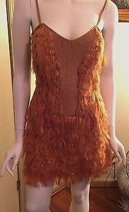 Other Yolanda Arce Spaghetti Strap Sequin And Faux Fur Bustier Dress