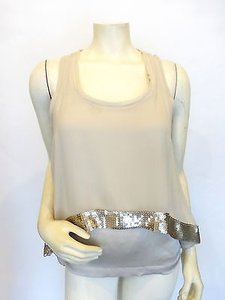 Robert Rodriguez Silk Blouse Layered Gold Sequins 0 Top Beige
