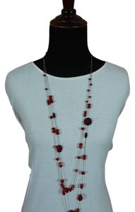 Red Bead Long Multi Strand Necklace