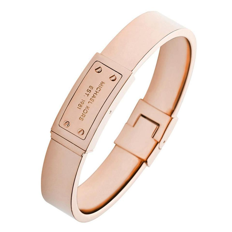 Michael Kors Nwt Rose Gold Tone Logo Plaque Bangle Mkj2401791