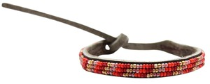 Chan Luu Chan Luu EFI Beaded Leather Single Wrap Bracelet, AF-BSZ-13032