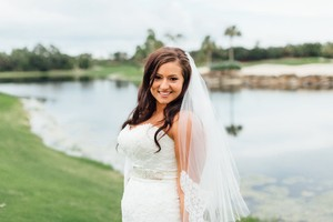 David's Bridal Two Tier Mid Veil With Scalloped Edges And Lace