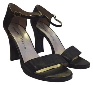 Charles Jourdan Strappy Minimalist Embossed Black Sandals