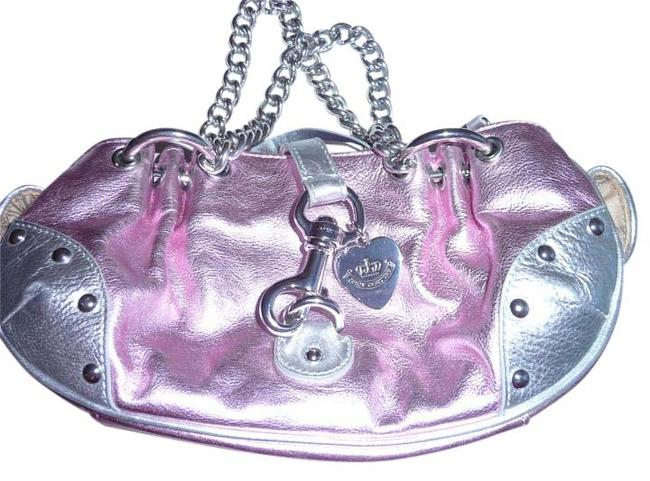 Item - Vintage Metallic Pink and Silver Leather Canvas Tote