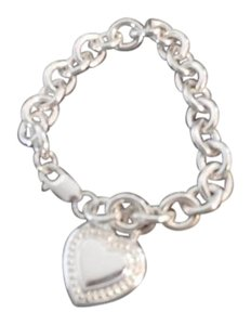 Judith Ripka Judith Ripka Sterling Silver Country Link Heart Tag Charm Cable Chain Bracelet 50.2 GRAMS
