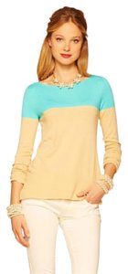 Lilly Pulitzer Tan Aqua Light Weight Boat Neck Sweater
