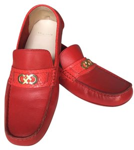 Cole Haan Driving Loafer Leather Red Flats