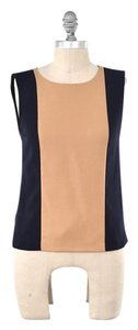 J.Crew Color-blocked Wool Crepe Boxy Sleeveless Top Camel/Navy