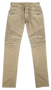 Balmain Pin Tuck Ribbed Motorcycle Timeless Contemporary Skinny Pants Taupe