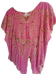 Cleobella Eclectic Bohemian Butterfly Hippy Chic Summer California Top Hot Pink, Gold