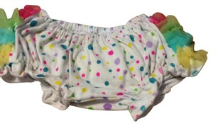 Big Dreams Mini/Short Shorts White w/ multi colored polka dots and ruffled tulle on back.