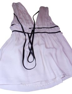 Robert Rodriguez Cream with black velvet trim Halter Top