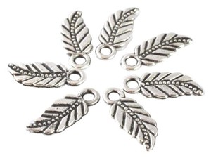 Other 18x7mm Antique Silver Tribal Leaf Pendant