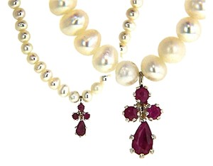 ABC Jewelry Adorable pearl necklace with genuine ruby cross pendant dangle. 16