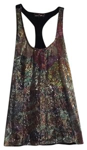 Almost Famous Clothing Top Black with multicolored sequins