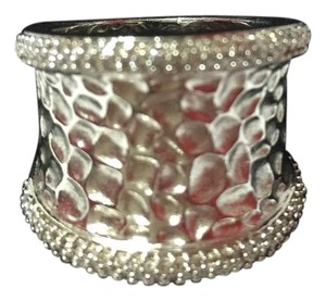 EFFY EFFY - Sterling Silver with Pave Diamond Edge Hammered Ring with Original Macy's Box. Size = 7.5