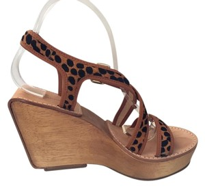 Diane von Furstenberg Dvf Calf Hair Cheetah Print Wedges