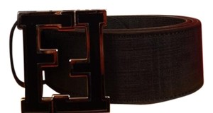 Fendi BLACK COLLEGE LEATHER ZUCCA BLACK FF LOGO BUCKLE BELT 95 38 $400