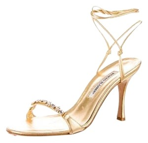 Manolo Blahnik Leather Gold Formal
