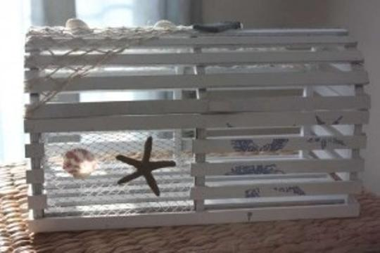 White Lobster Trap Card Box Holder Cage Pot Beach
